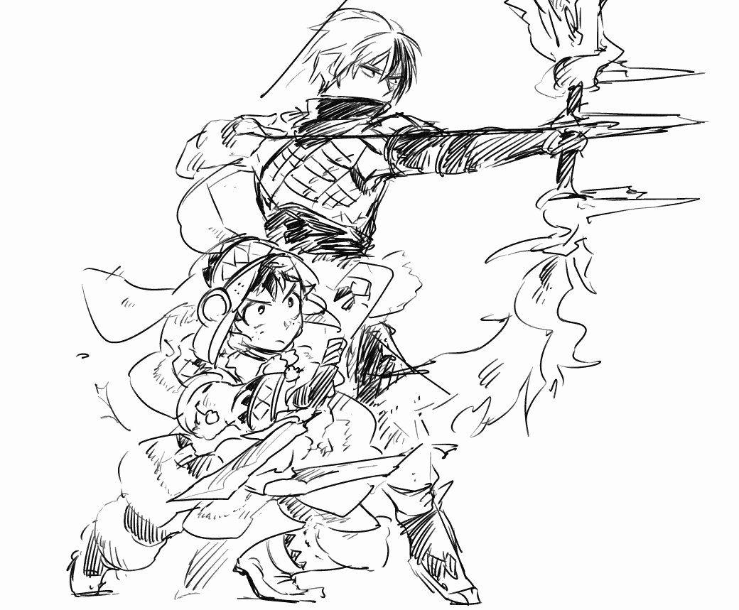 My Hero Academia Coloring Page Awesome Characters Midoriya Izuku Todoroki Shouto In 2020 My Hero Academia My Hero Hero