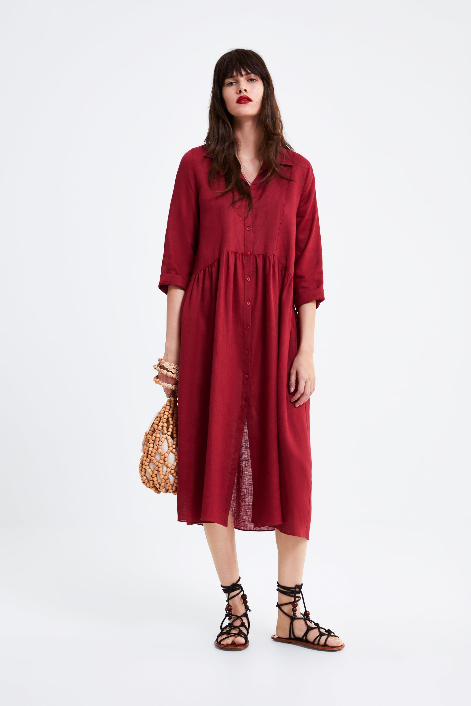70a156f2 Long linen dress in 2019 | Maternity fashion | Linen dresses, Zara ...