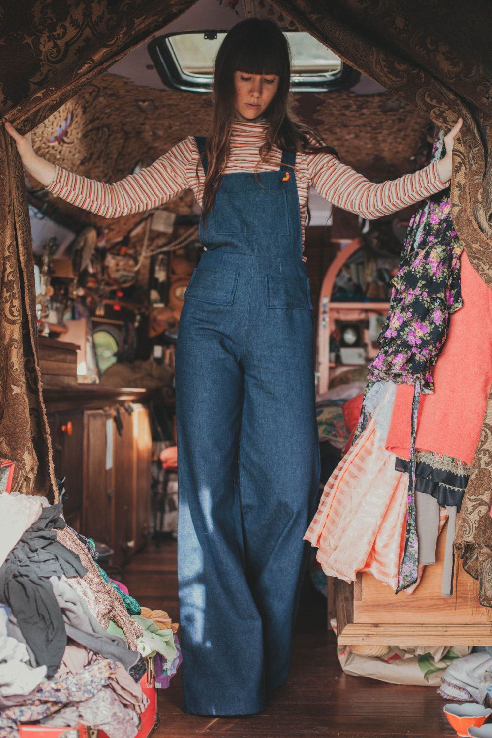 Moon Flower Overalls Handmade Vintage Style Bell Bottom Denim Overalls Custom Made With Cone Denim 70s Inspired Fashion Fashion Style