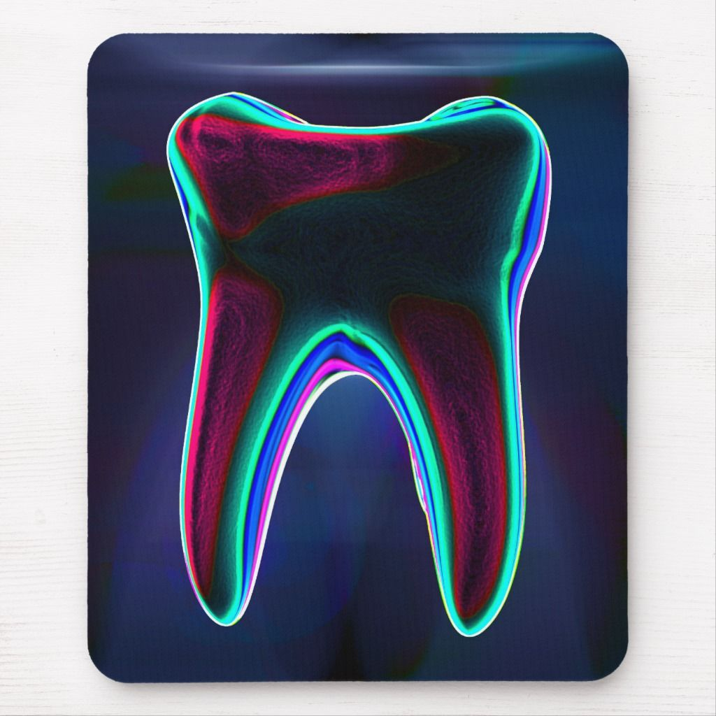 Dentist blue glowing tooth mousepad in 2021