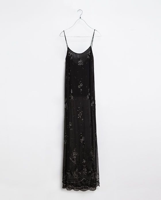 ZARA - TRF - LONG EMBROIDERED DRESS