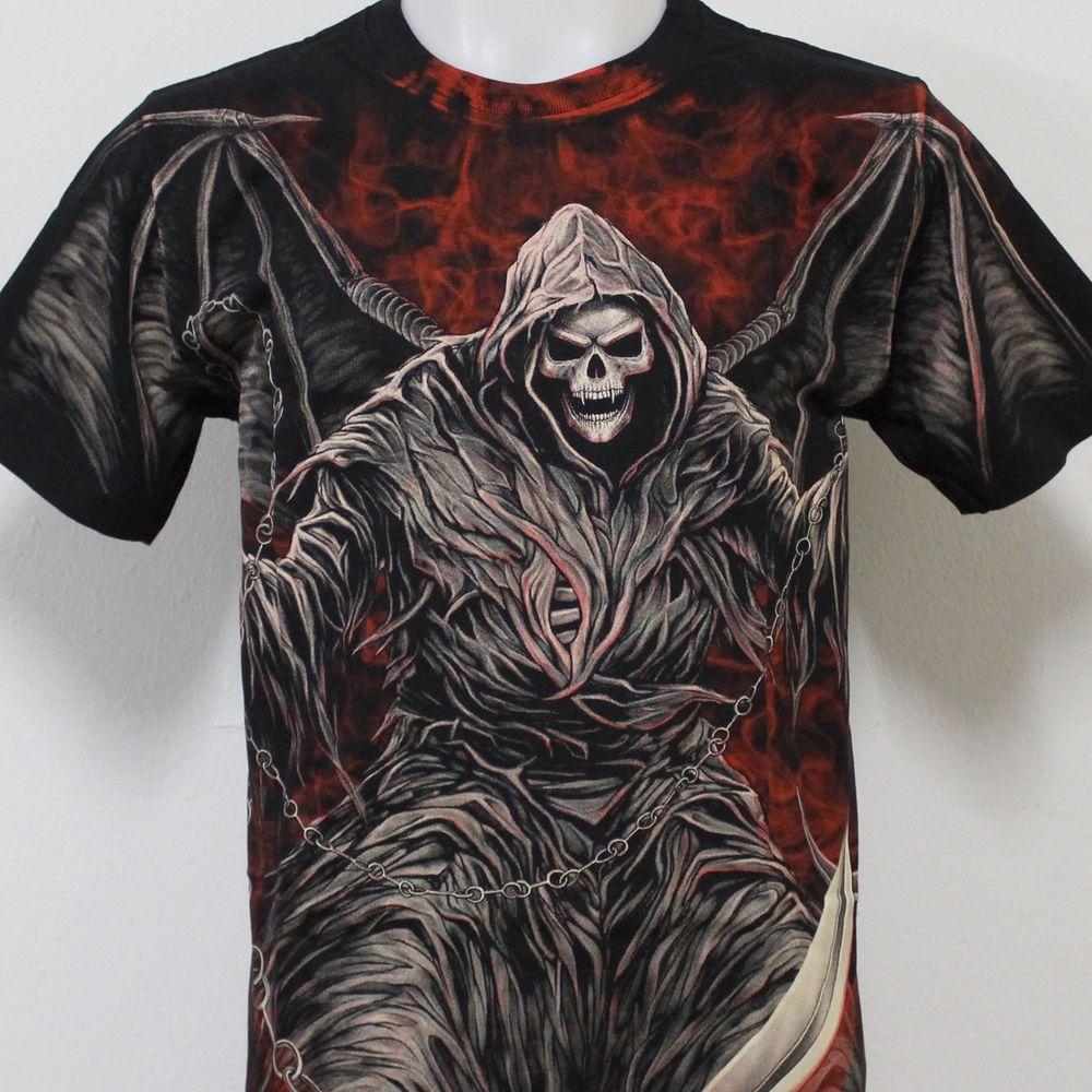 grim reaper skull tattoo rock eagle discharge tshirt g23