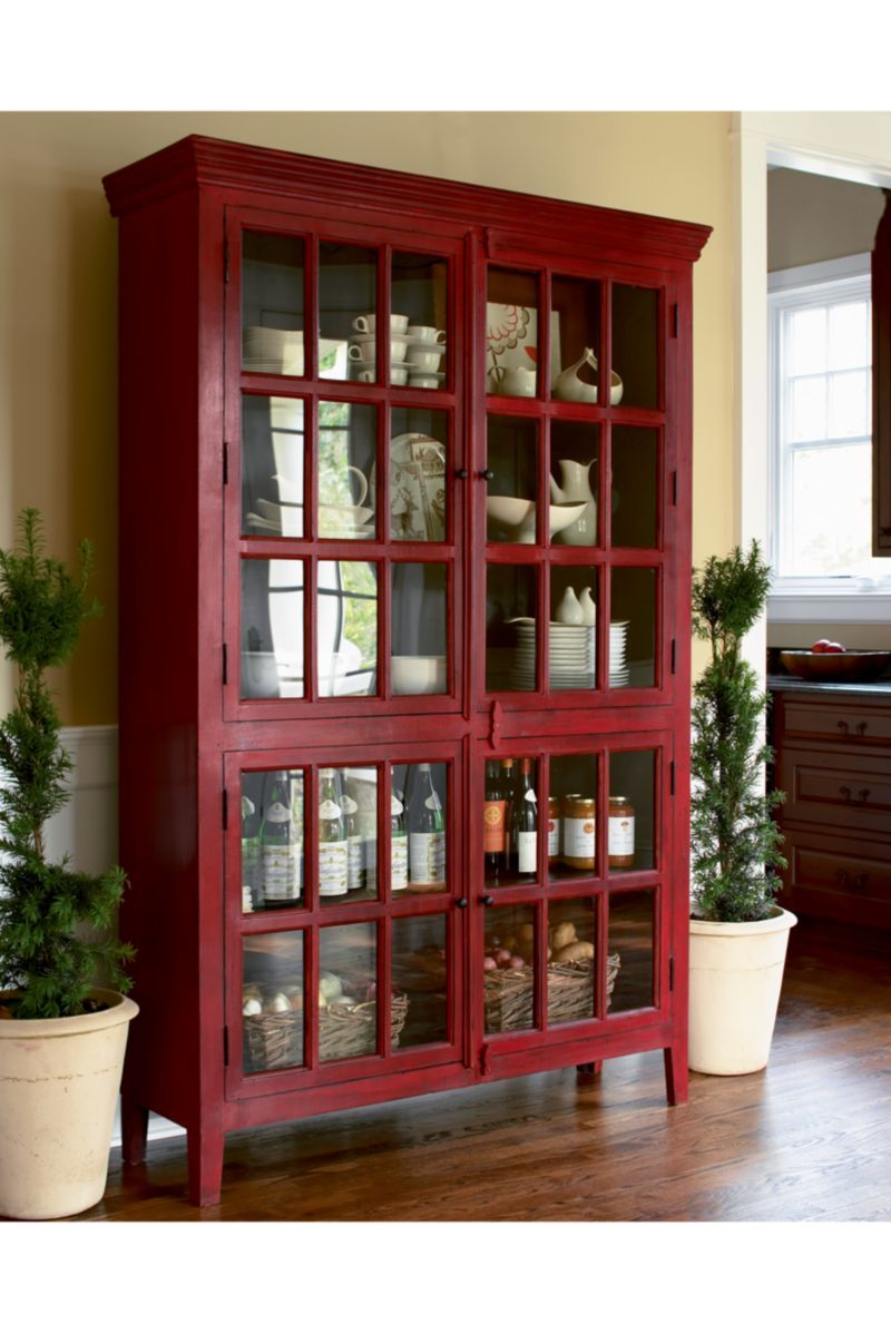 Rojo Red Tall Cabinet In Storage Cabinets Crate And Barrel Red