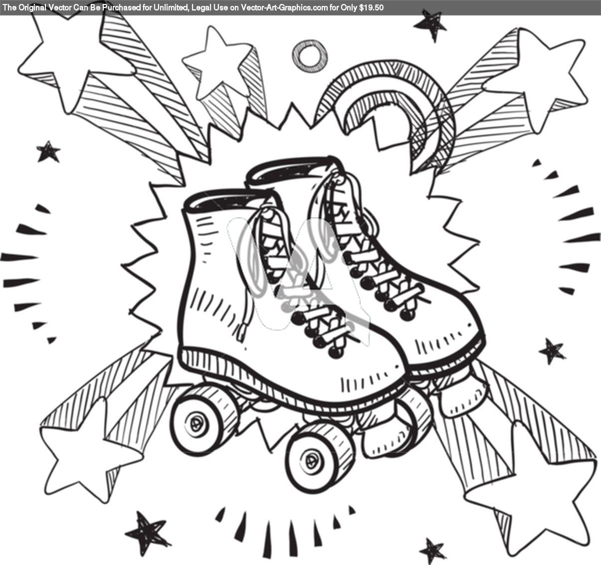 Roller skates book - Roller Skates Excitement Sketch