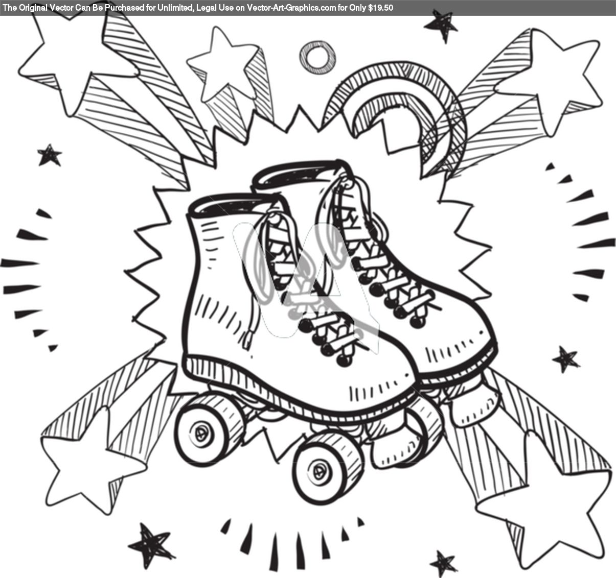 Roller Skates Excitement Sketch Roller Derby Skates Roller