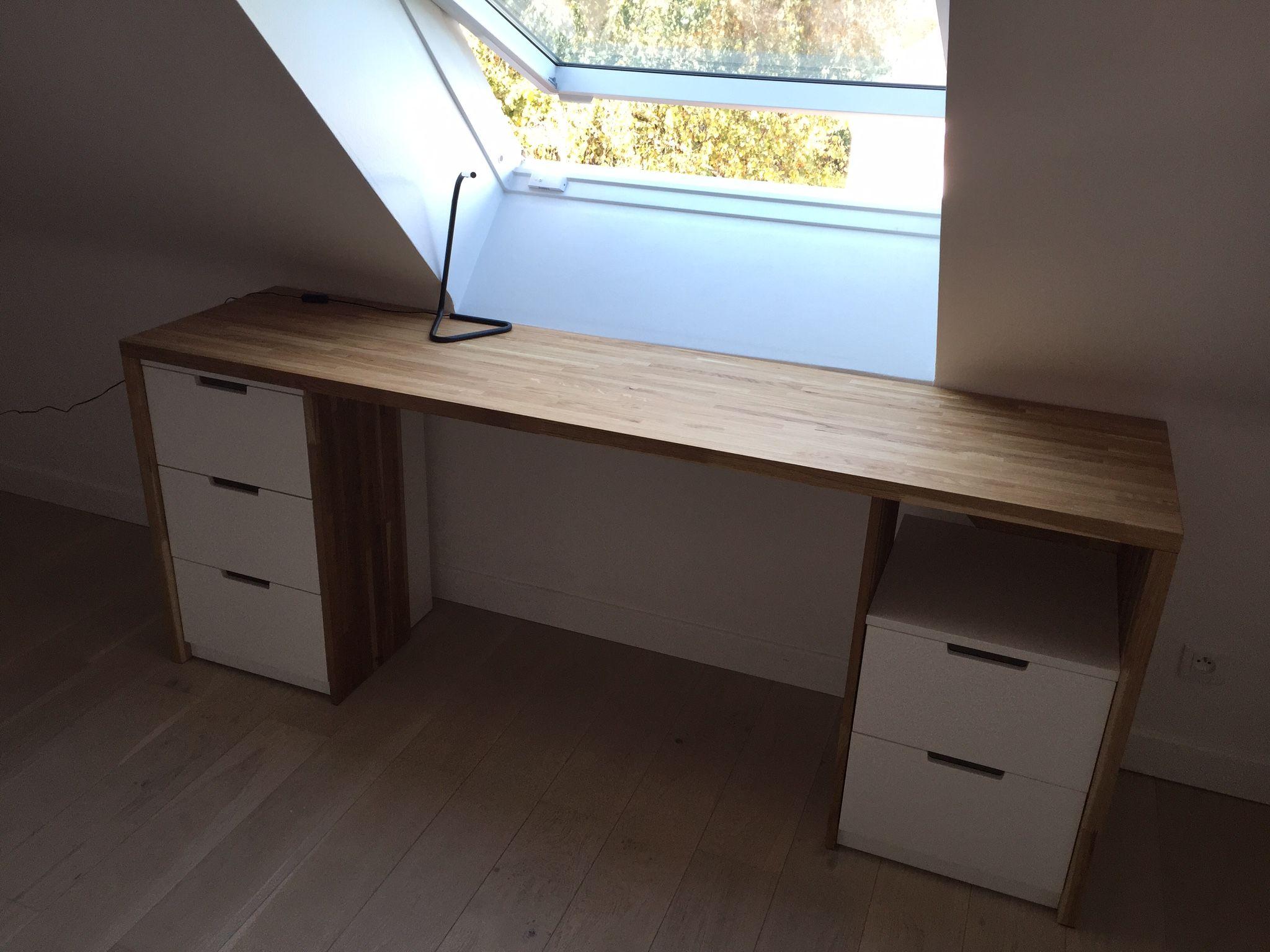 Bureau Plan De Travail création bureau: plan de travail et meubles ikéa | mobilier