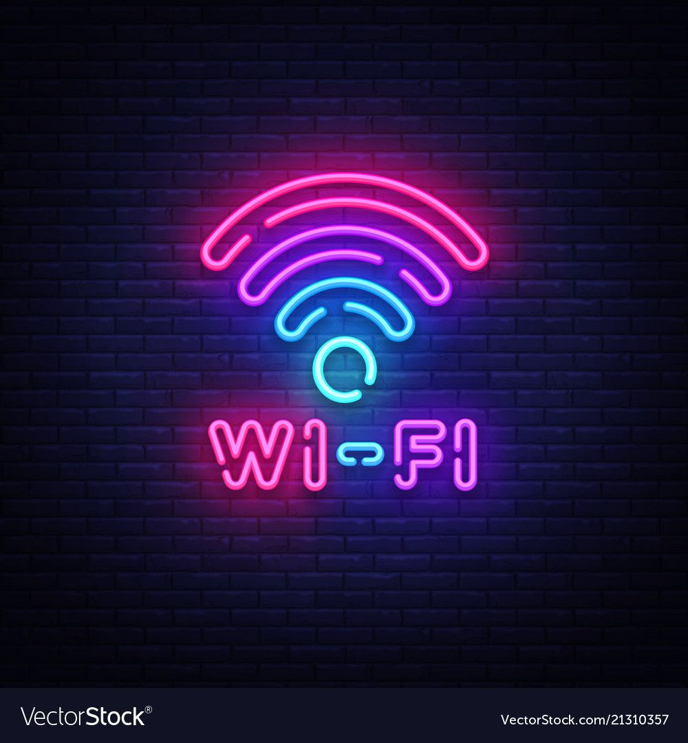 Wifi neon sign vector. Wifi symbol neon glowing letters