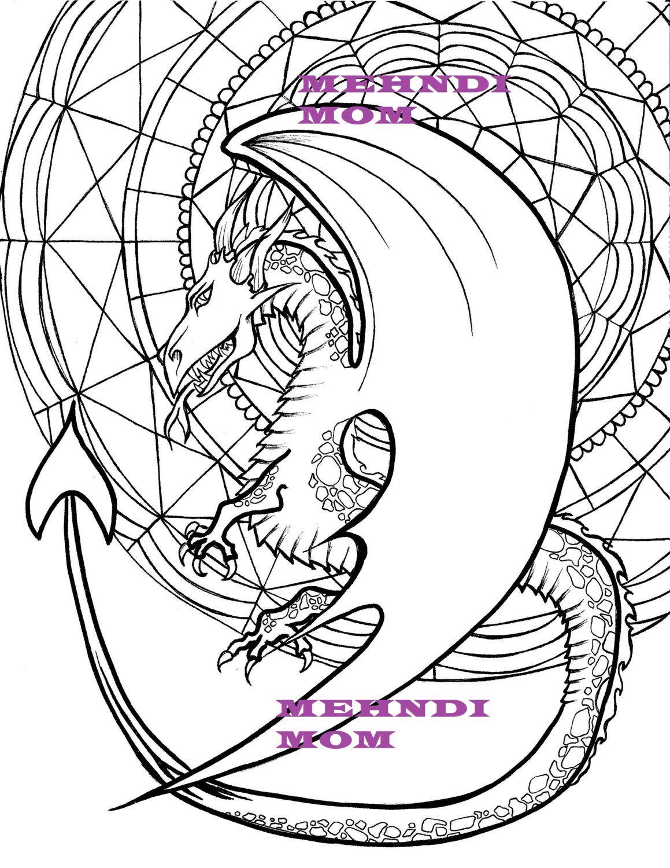 Dragon mandala adult coloring page children dowload - Mandala dragon ...