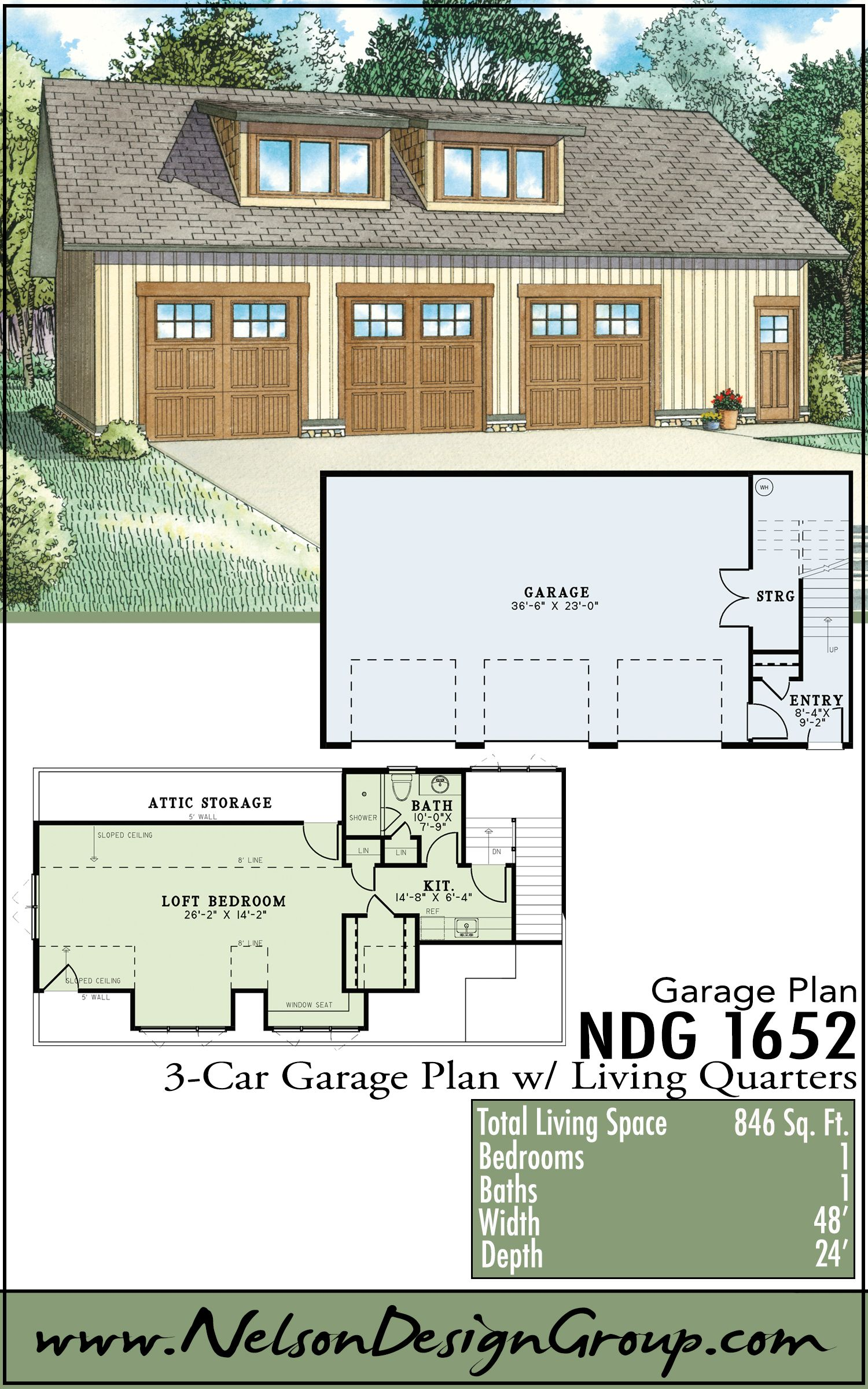 Superbe 3 Car Garage Plan With Side Entrance Living Quarters | 1652. Pool House ...