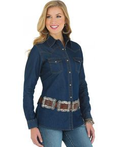 077163205bb0 Wrangler Womens Denim Western Yoke Long Sleeve Shirt