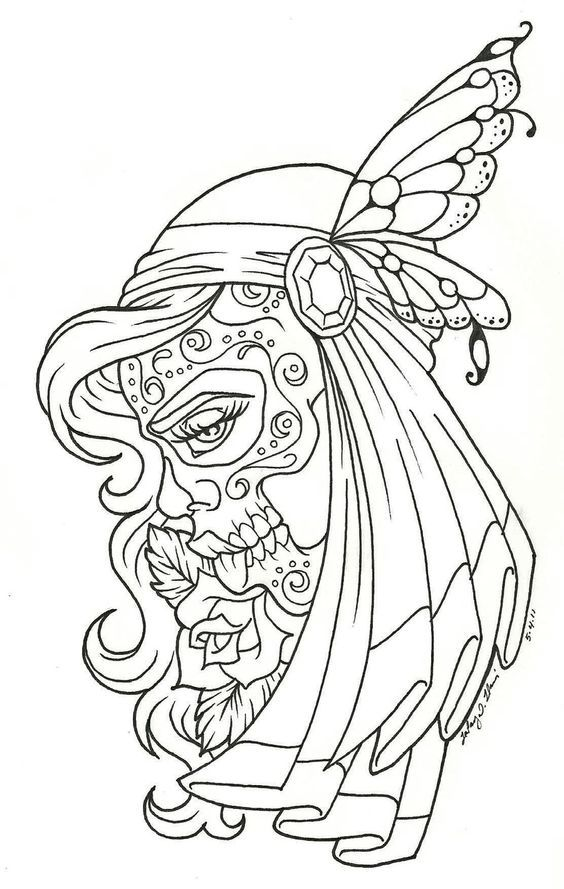 day of the dead coloring page - Coloring Pages Roses Skulls