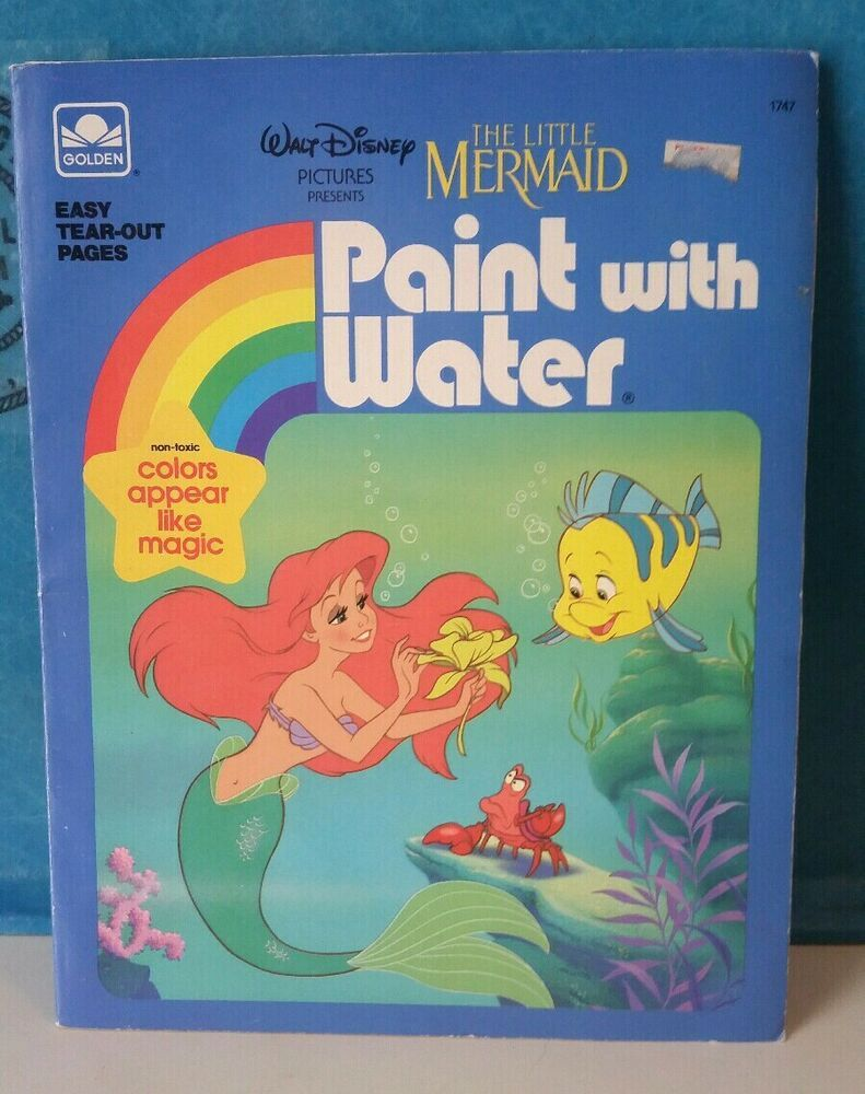 Vintage 1989 The Little Mermaid Paint With Water Coloring Book Disney Mermaid Coloring Book Little Mermaid Painting Mermaid Painting