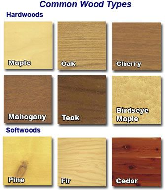 Common Wood Types That Is Used To Create A Furniture.  D