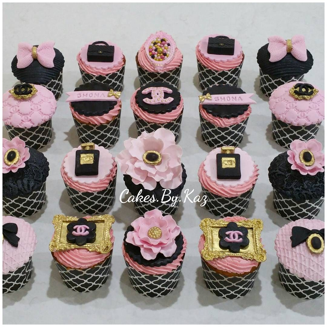 Pink Black And Gold Chanel Fashion Cupcakes Cakes By Kaz