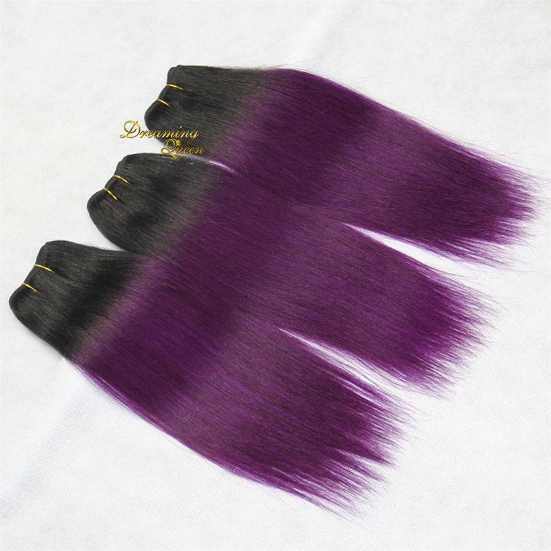 Straight Purple Brazilian Ombre Hair Extensions Weave 1b Purple