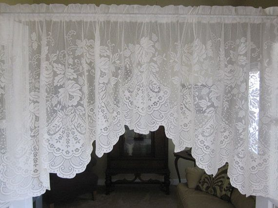 lace valance ivory lace curtain valance with variegated hem 72 inches are available