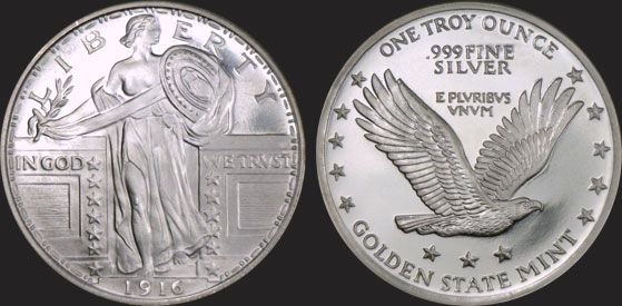 Golden State Mint Precious Metals 1 Oz Standing Liberty Silver Round Silver Bullion Silver Eagle In Flight