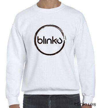 Sudadera para hombre : Color white, diseño Blinku 2 serigrafiado en tinta color black.
