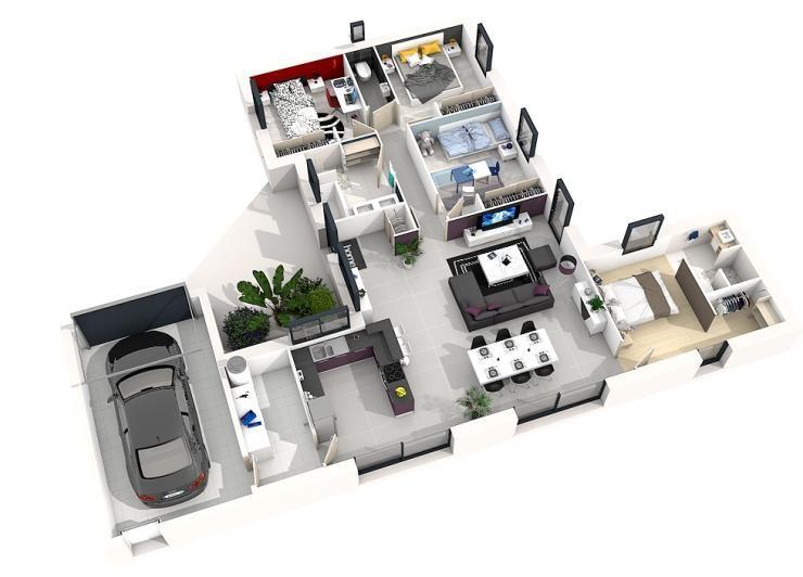 Modele Maison Cassiopee 114m 3d Plan Maison Idee Plan Maison Plan Maison Moderne