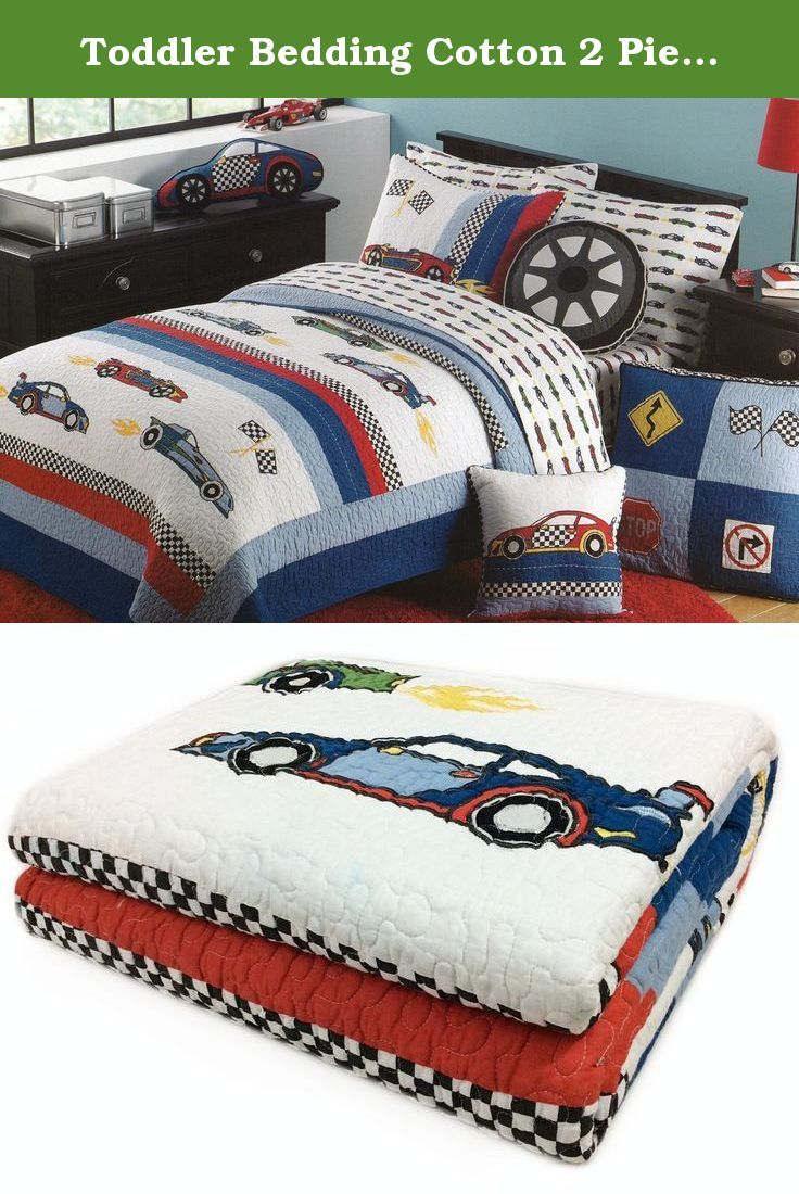 Toddler Bedding Cotton 2 Piece Quilt Set Hot Rod Race Cars Reversible Stripes Embroidery Quilted Bedding Bedspread Twin Quilt Sets Kids Bedding Toddler Quilt