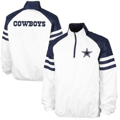 low priced 1609a a8b19 Dallas Cowboys White 1/2 Zip Pullover Jacket   Brandon ...
