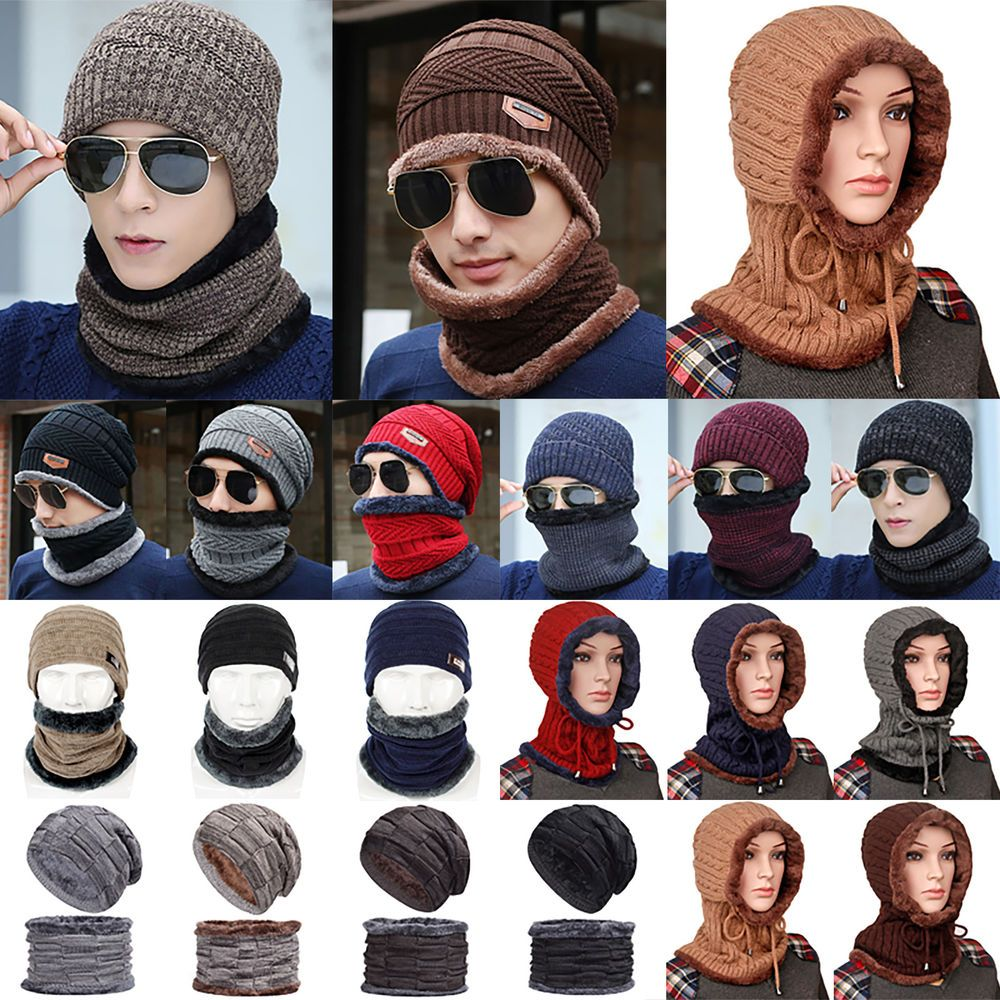 6e400daf5e US Mens Women Knitted Slouch Scarf Beanie Ski Hat Winter Warmer Cap ...