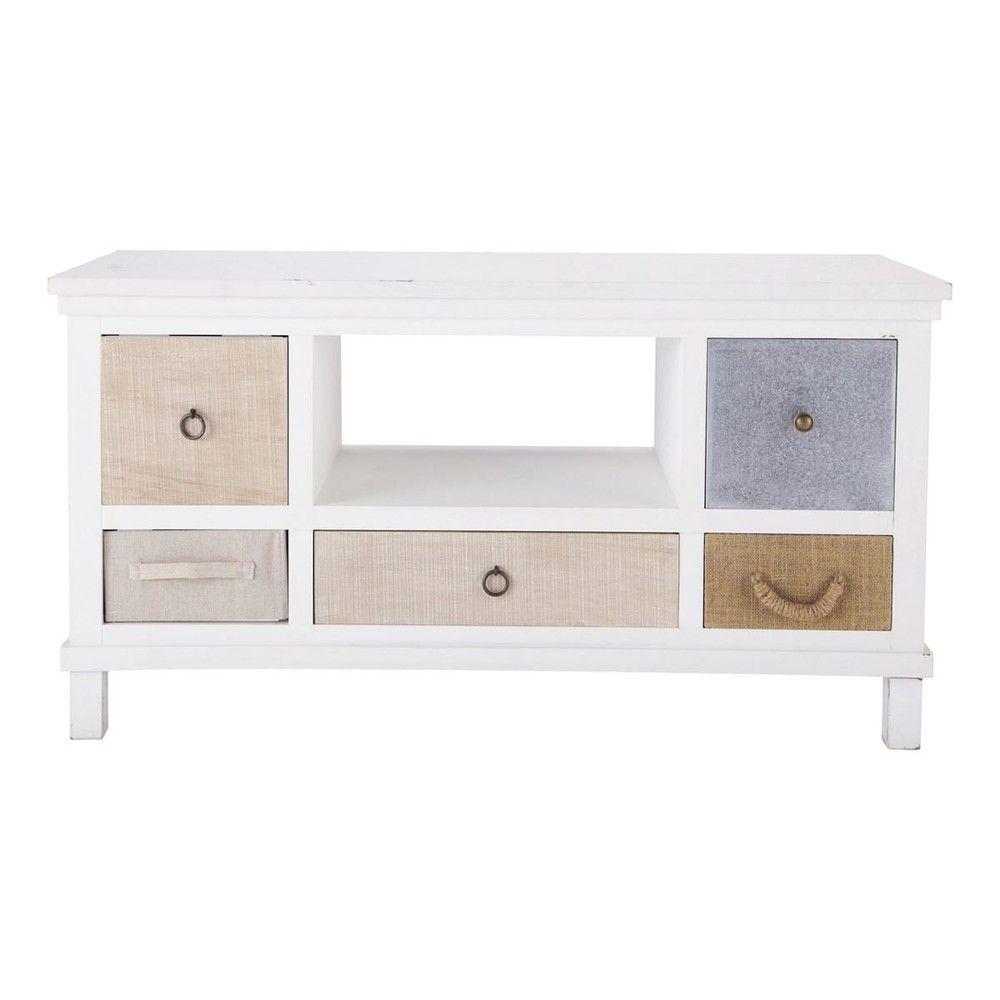 Meuble TV en bois blanc L110 | Painted Furniture & DIY | TV Unit, Tv ...