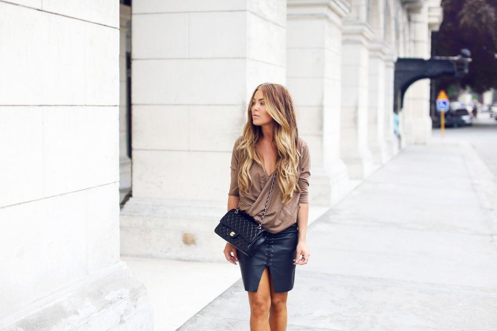 street style, fashion, bag, skirt, shirt, h&m, chanel, river island, long blond hair, girl, swedish, Angelica Blick