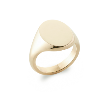 14ct Yellow Gold Signet Ring Oxford Oval Extra Heavy Weight