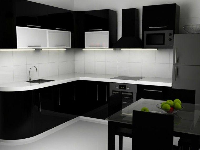 cocinas blancas negras estantes salpicadero Interiores para cocina