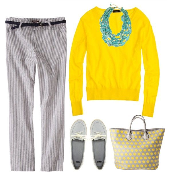 """""""Yellow and gray"""" by hannah-kauffman-gallagher on Polyvore"""