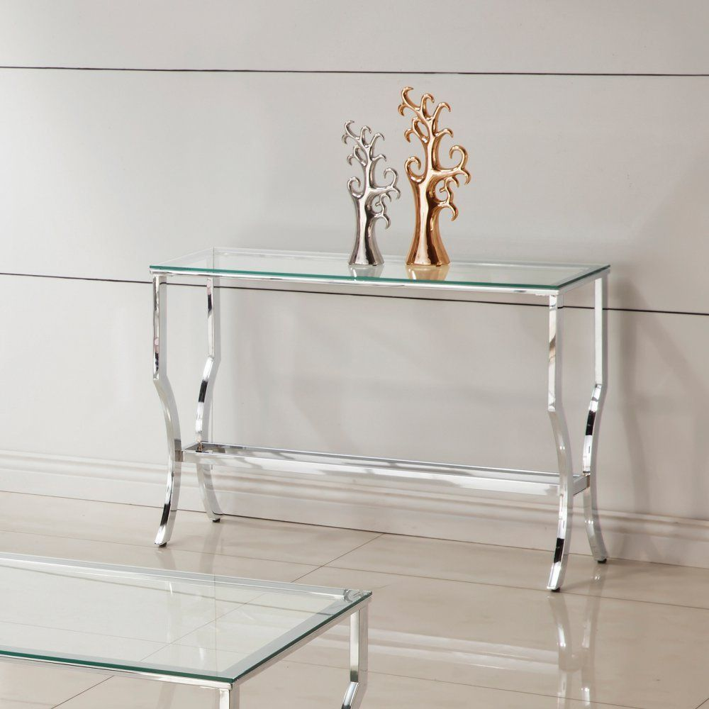 Glass Top Console Table In Chrome