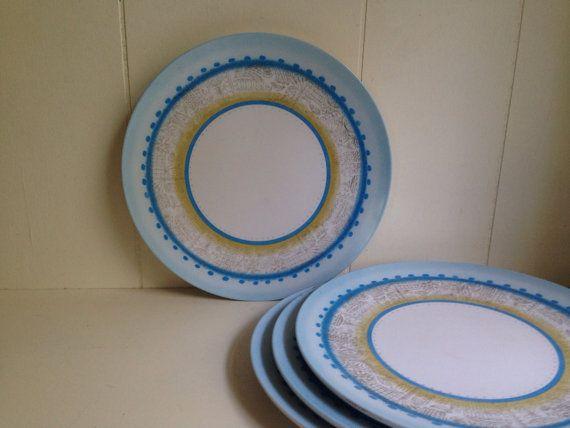 Retro Dinner Plates- Set of 4 Melamine Plastic Plates- Boontonware Plate Set- Blue & Retro Dinner Plates- Set of 4 Melamine Plastic Plates- Boontonware ...
