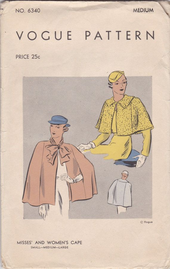 1930s Cape Pattern Vogue 6340 Bust 36 - 38 | Büste, 1930er und Muster