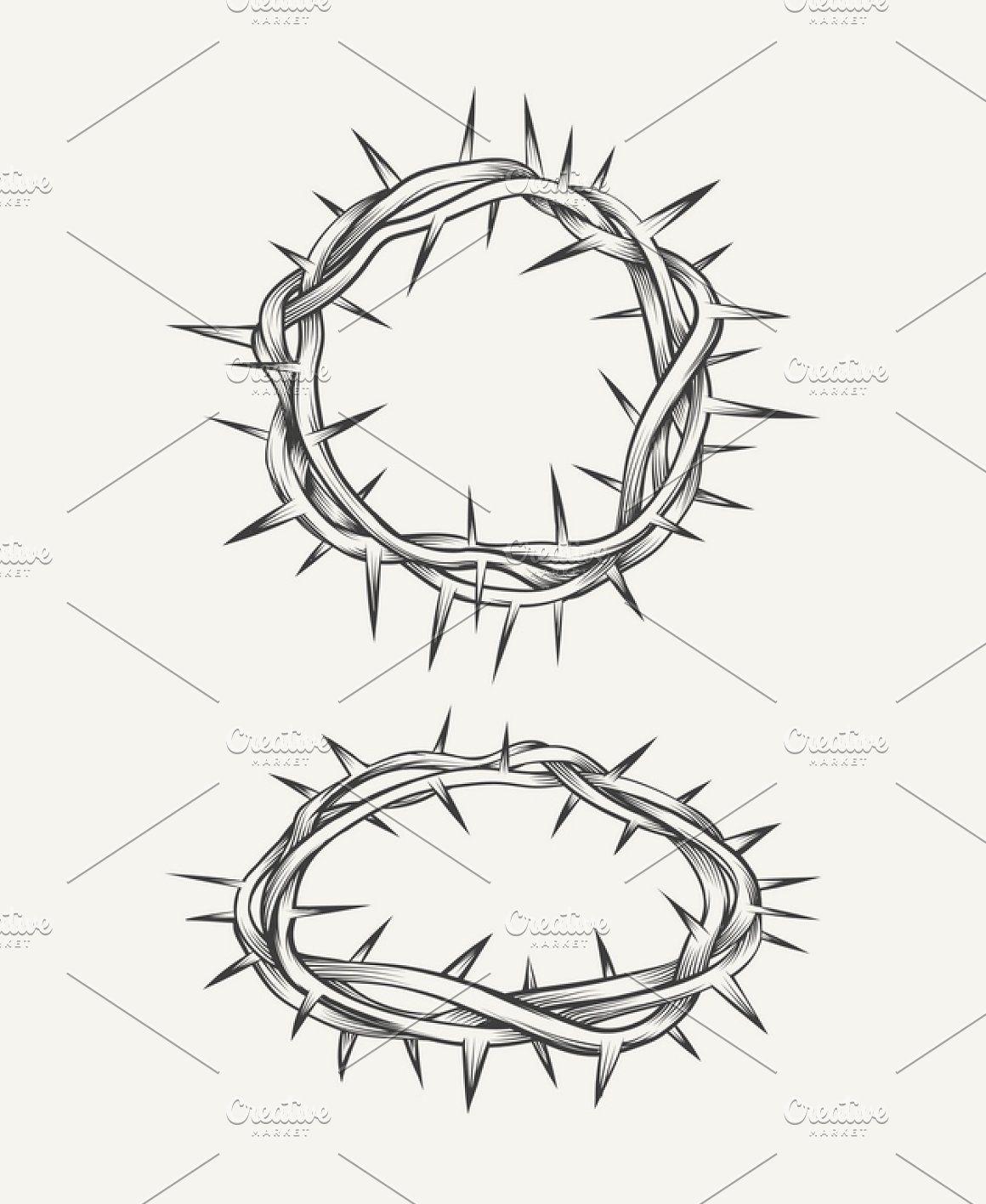 Crown Of Thorns Drawing : crown, thorns, drawing, Crown, Thorns, Терновый, венец,, Тату, плече,, Олдскул
