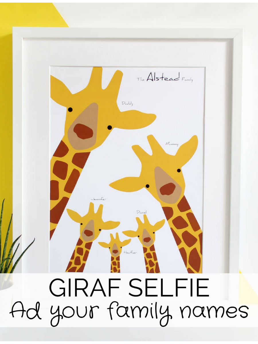 I love this idea of a Giraf Selfie for wall decor in the nursery ...