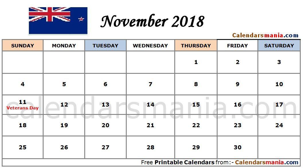 November 2018 Calendar Nz November Calendar November calendar