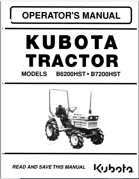 Kubota B6200hst B7200hst Tractor Operators Manual Pdf Download Tractors Kubota Kubota Tractors