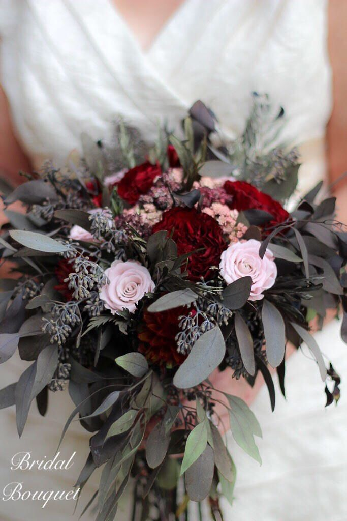 Burgundy and Blush Pink Bridal Bouquet   Bridesmaid Bouquet   Burgundy Rose Boutonnière   Burgundy and Pink   The Salina Belle Collection