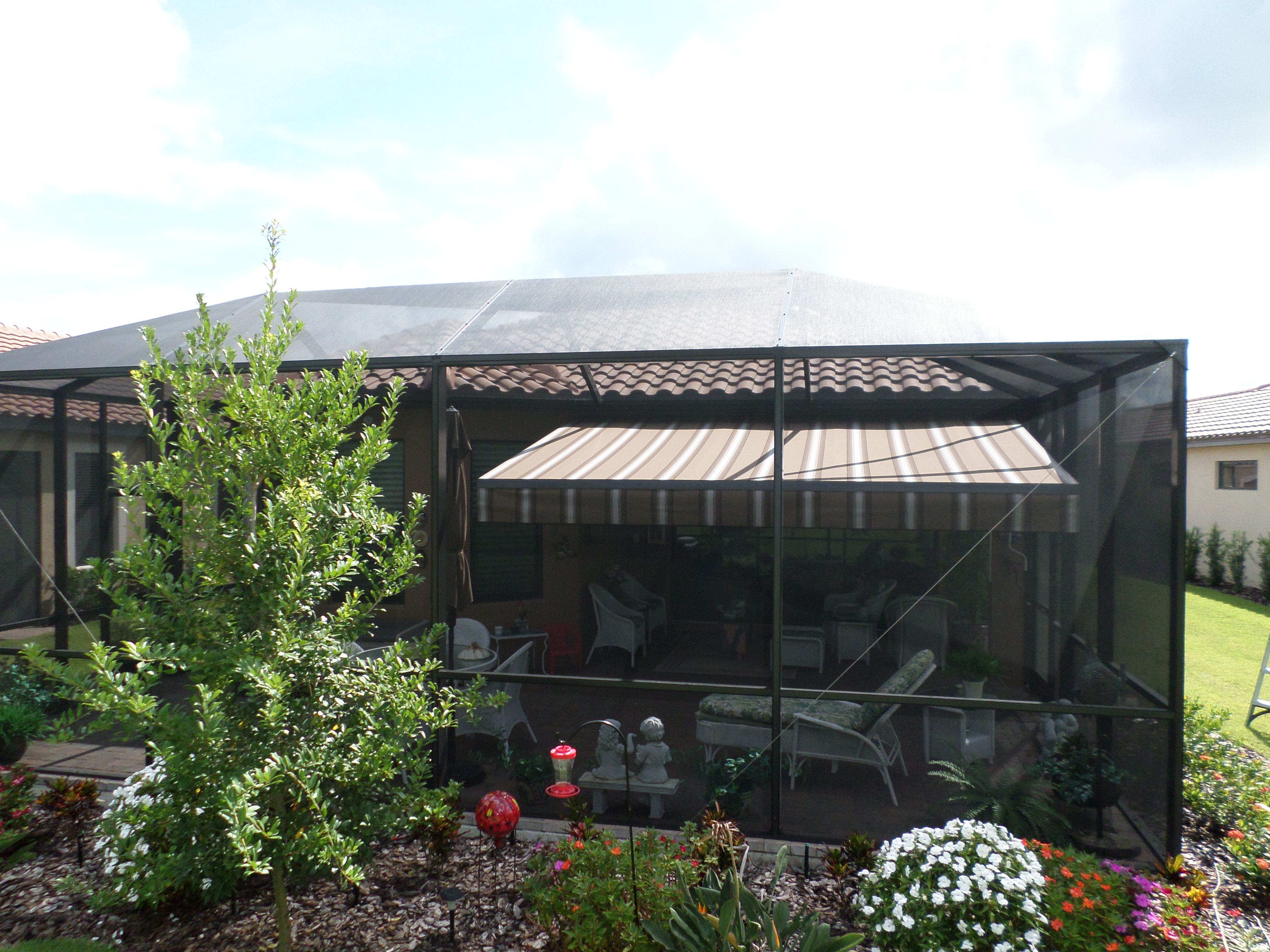 Eclipse Awning By Shade And Shield Installed Inside A Pool Cage