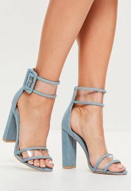24255616cca Blue Denim Clear Ankle Strap Block Heels