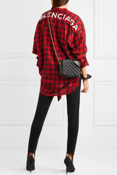 73507cdc407179 Balenciaga - Swing Printed Tartan Cotton-blend Twill Shirt - Red