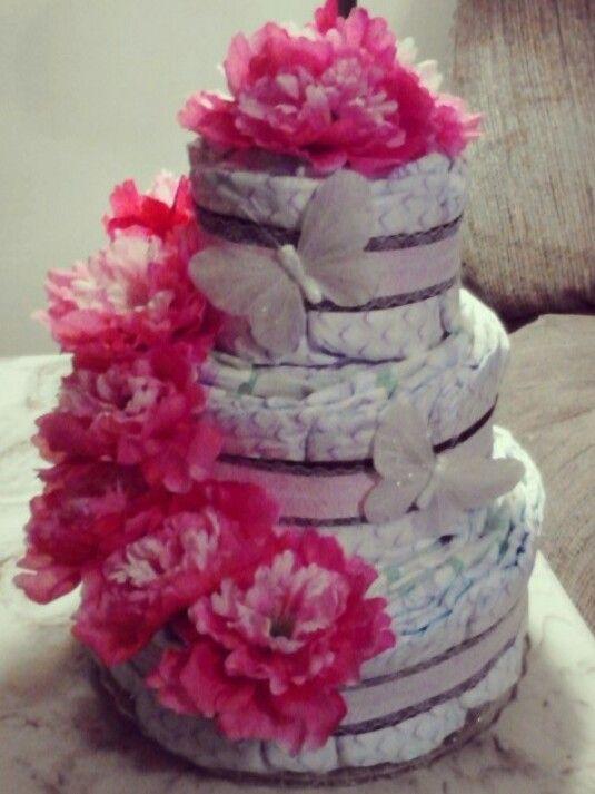 Diaper cake for girl.