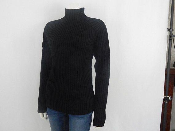6570691d1 Vintage Black Small S Women s Deadstock Turtleneck Knit Sweater ...