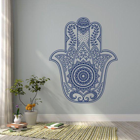 Hamsa mandala wall decal fatima hand wall decal stickers for Calcomanias para dormitorios