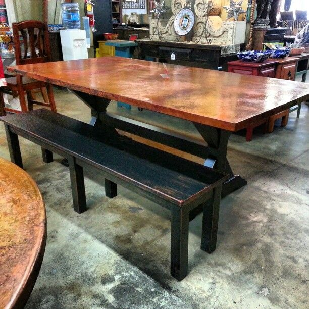 Copper Dining Table Large Style Ready To Have Lots Of Friends And