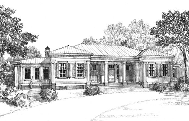 Front Elevation Rendering Of A Classic Revival House From Southern Living Magazine Country Style House Plans Southern Living House Plans House Plans Farmhouse