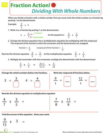 Dividing Fractions With Whole Numbers Fractions Dividing Fractions Math Fractions