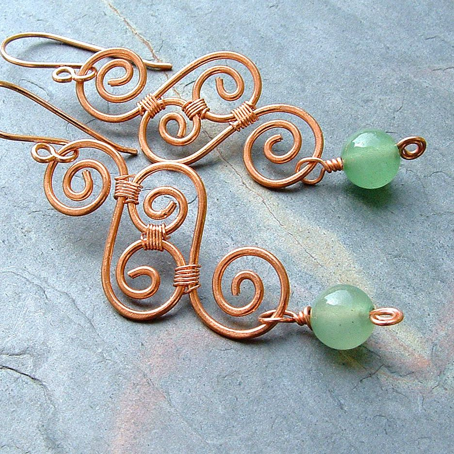 Copper Earrings Green Aventurine Swirl Wire Wrap Copper Jewelry eco ...