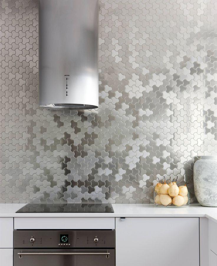 mosaicos metalicos salpicadero cocina Pinterest Modern kitchen